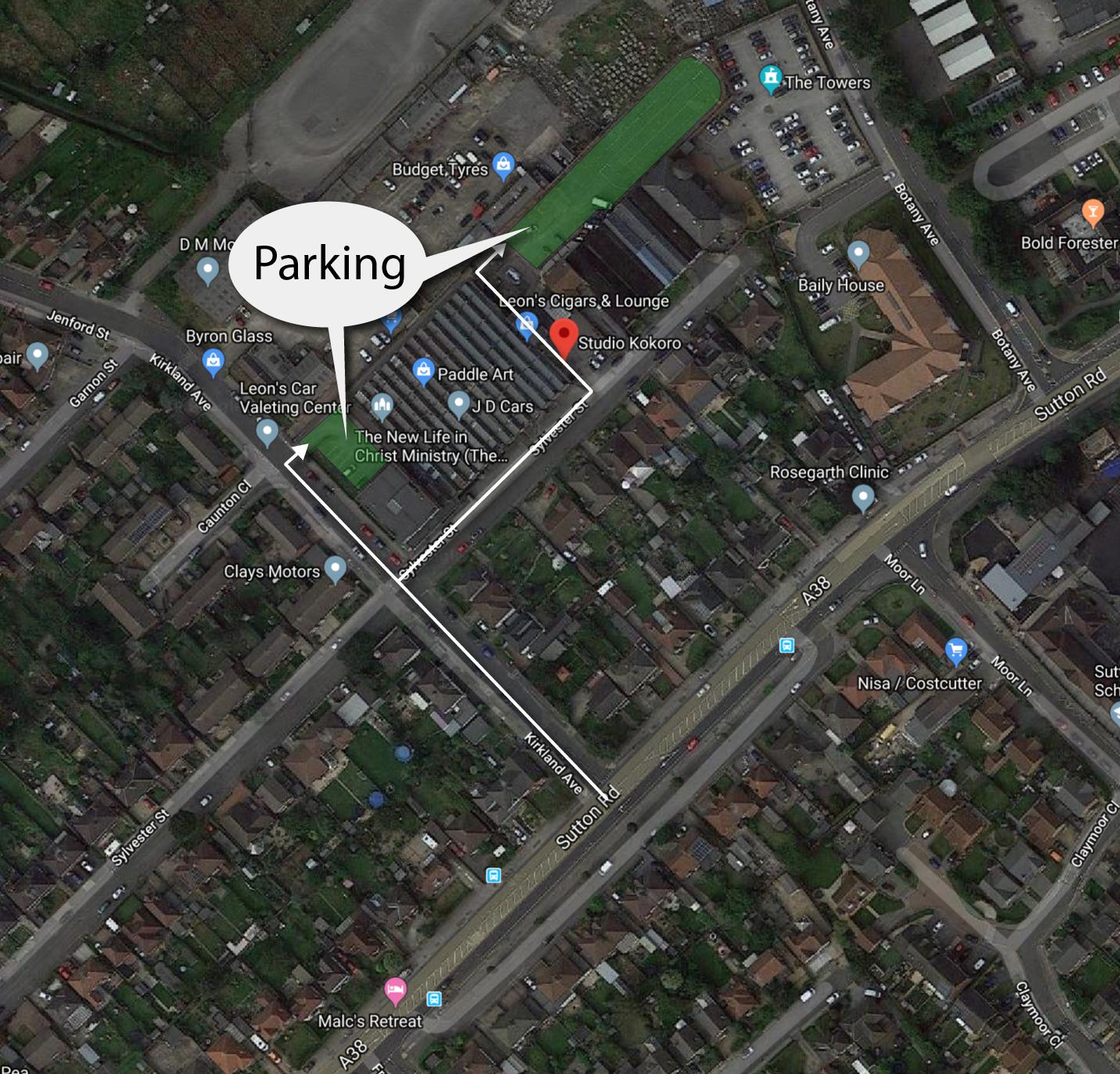Studio Kokoro parking map