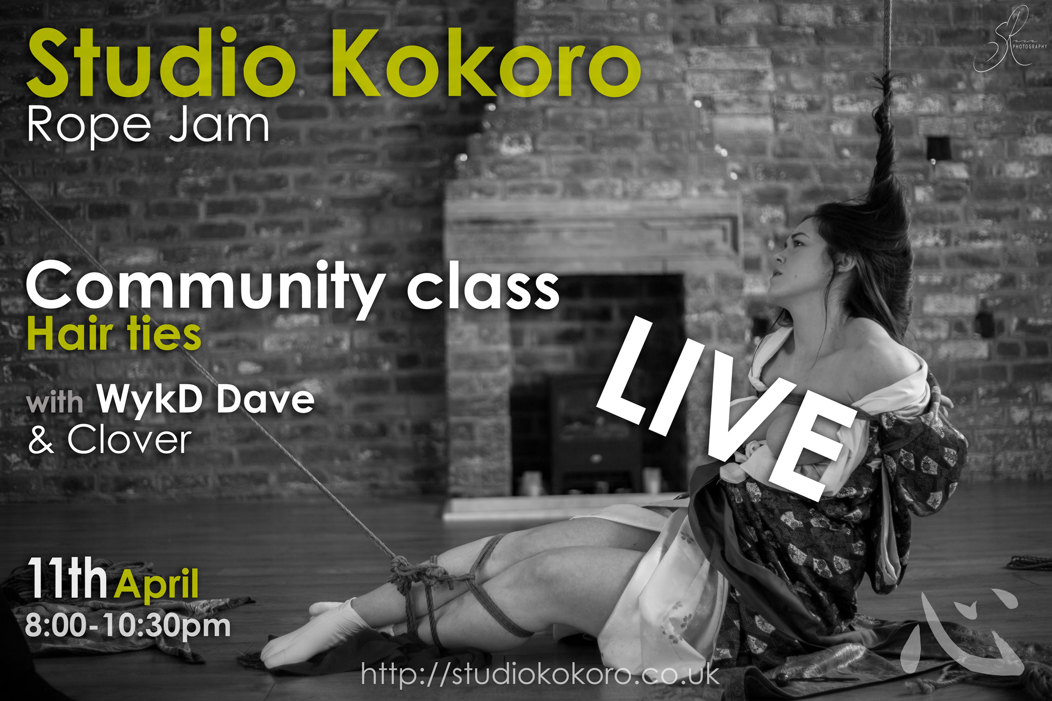 April 2020 Studio Kokoro Rope Jam with hair ties community class by WykD Dave & Clover